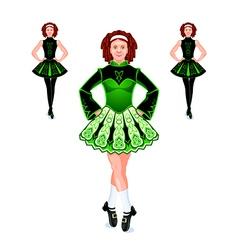 Irish dancers trio vector image