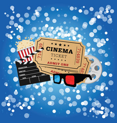 movie icon set on blue background vector image vector image
