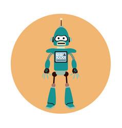 Robot machine engineer circle icon vector