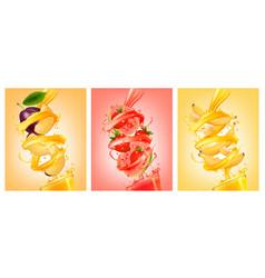 Set of labels of of fruit in juice splashes plum vector