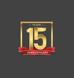 15 years anniversary logo style with golden vector