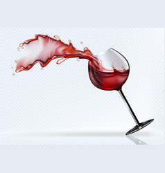 A glass of red wine splashing in the fall vector