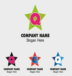 Abstract Q letter logo template with star icon vector