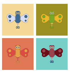 Assembly flat icons kids toy butterfly vector