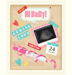 Baby scrap album realistic vector