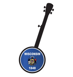 Banjo silhouette with wisconsin state flag icon vector