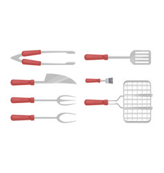 Bbq cutlery barbecue icons set vector