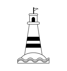 beach lighthouse symbol black and white vector image