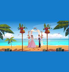 Beach wedding bride and groom newlywed couple vector
