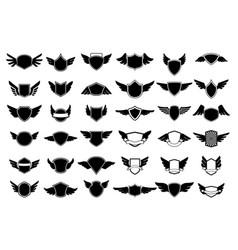 Big set empty emblems with wings design vector