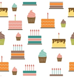 Birthday cake flat seamless pattern background vector