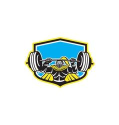 Black Knight Lifting Barbell Front Shield Retro vector