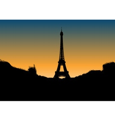 black silhouette of eiffel tower vector image