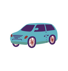 blue car city vehicle transport cartoon vector image