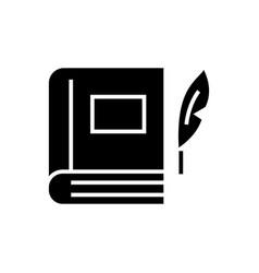 book with pen - literature icon vector image