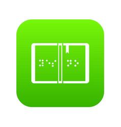 Braille icon digital green vector