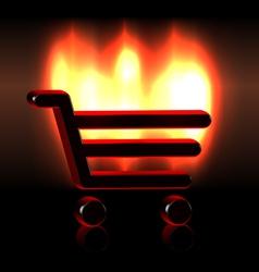 Burning shopping basket icon vector image