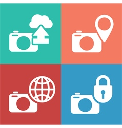camera digital icon set vector image