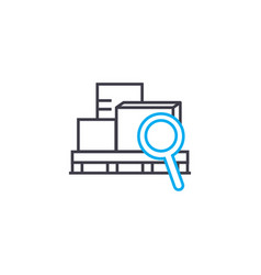 Cargo scanning thin line stroke icon cargo vector