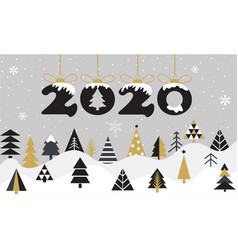 cartoon happy new year 2020 greeting card vector image