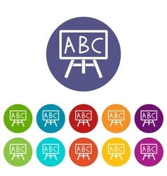 Chalkboard with the leters ABC set icons vector image