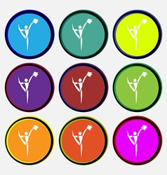 Cheerleader icon sign Nine multi colored round vector