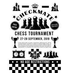 chess sport tournament game pieces and timer vector image