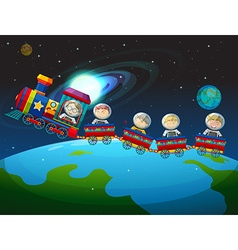 Children riding train in space vector image