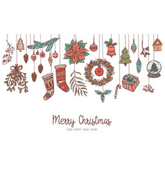 christmas cartoon horizontal drawing background vector image