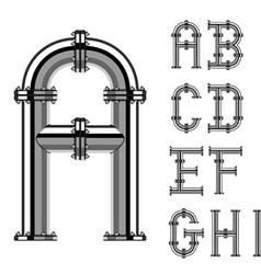 Chrome pipe alphabet letters part 1 vector