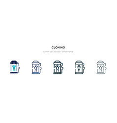 Cloning icon in different style two colored and vector