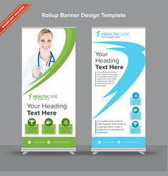 Creative green and white rollup banner with curvy vector