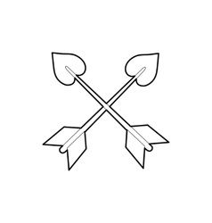 Cross arrows icon outline style vector