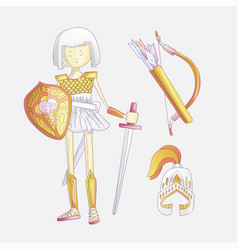 cute cartoon girl warrior vector image
