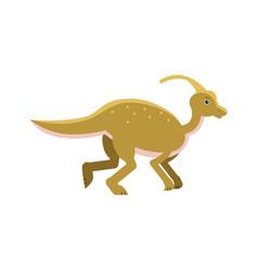 cute cartoon parasaurolof dinosaur prehistoric vector image