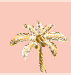 decorative rosy and gold color tropical palm vector image