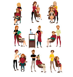 Different hairdressers serving clients set man vector