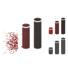 disappearing pixel halftone bar chart cylinders vector image