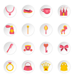 Doll princess items icons set in flat style vector