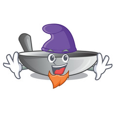 Elf character kitchenware wok for cooking food vector