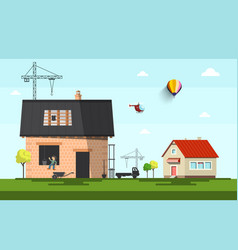 family house construction on suburb flat design vector image