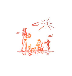 family rest beach summer vacation concept vector image