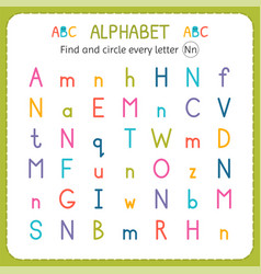 Find and circle every letter n worksheet vector