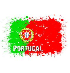 Flag portugal from blots paint vector