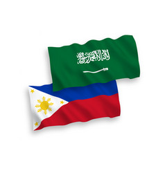 Flags saudi arabia and philippines on a white vector