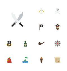 flat icons treasure map ship steering wheel vector image