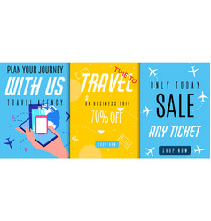 Flyers set offers business trip and journey sales vector