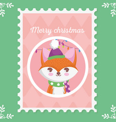 fox with hat and scarf lights merry christmas vector image