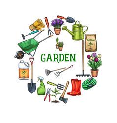 gardening round frame banner vector image
