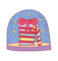 gift box present with cane vector image